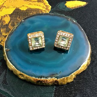 Mini Square Green Imitation Gemstone Antique Earrings BKA013