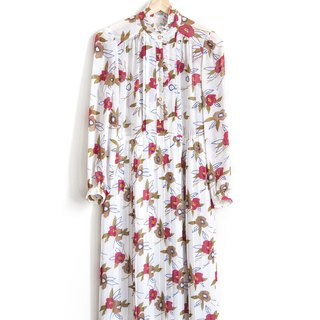 Vintage Flower Impression Vintage Long Sleeve Dress