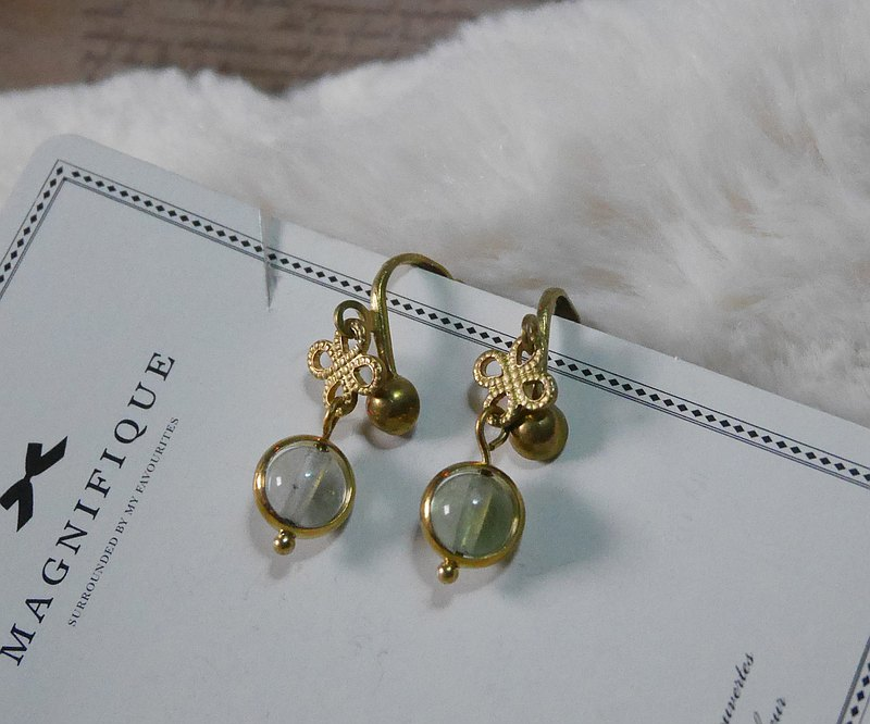 Pure brass | Rotating ear clip | Classic circle fluorite pure brass ear clip (no plating)