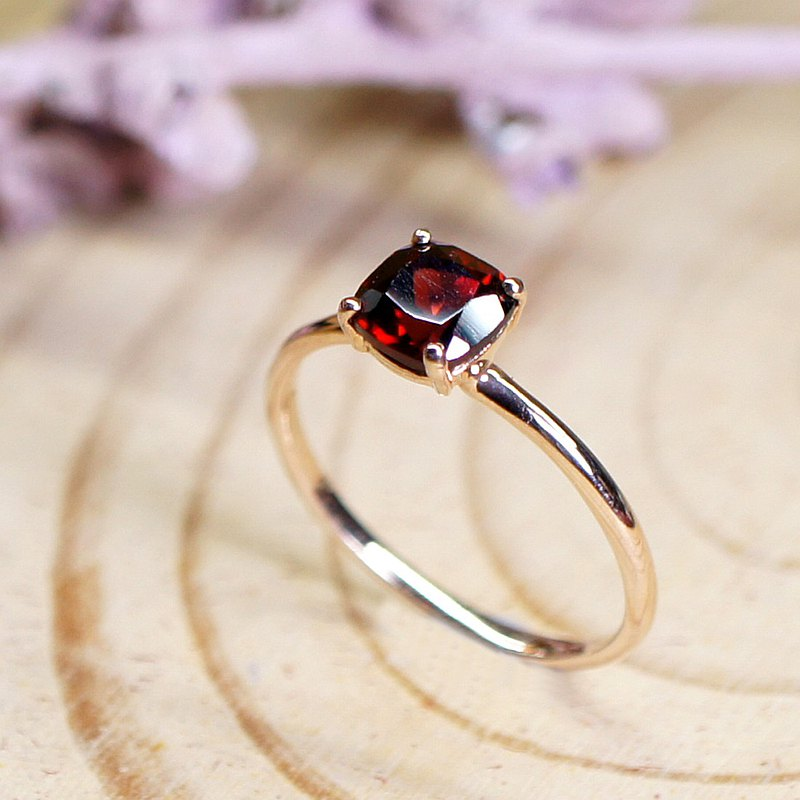 ELEVATION - Cushion Rose Cut Garnet 18K Rose Gold Plated Silver Ring