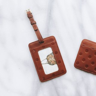 Original leather little luggage tag