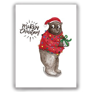 [Christmas] hand-painted illustration Universal Card Christmas / postcard / card / illustration card - Christmas bear