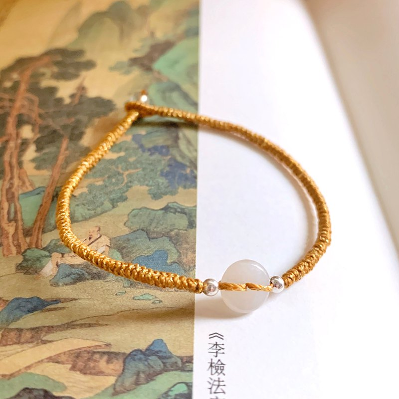 Handmade by Yan Luoyang side natural jade small safety buckle bracelet diamond knot transfer silver beads woven bracelet