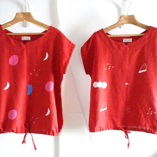 Moon Bubble / Watermelon Puppy Red Linen Breathable Drawstring Strap Small V-neck Top