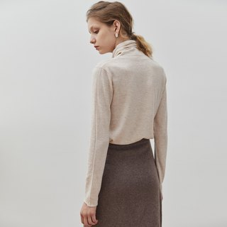Oatmeal 7-color high-necked self-cultivation pile of collar blouse Merino wool slim sweater sweater skin-friendly