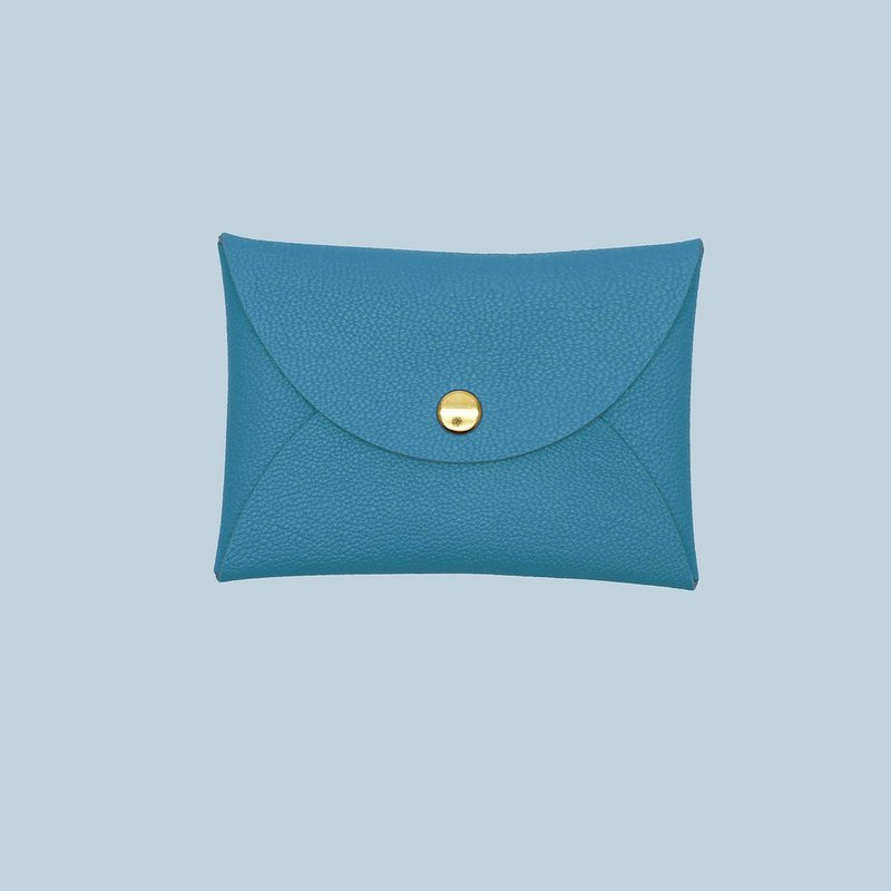 Genuine leather macarons blue green lake water green card holder/wallet/card holder/card case