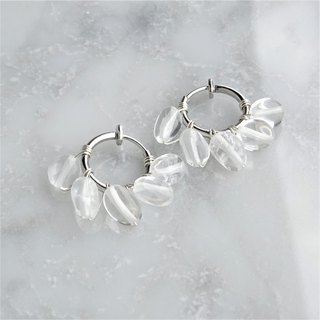 SV925SF*Crystal Quartz fringe wrapped earring / pierced earring