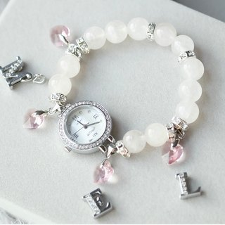 My Valentine MS. OPHRA ladies bracelet watch with alphabet, pink heart, Rose Quarts bracelet.
