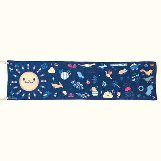 Lonely Planet Sports Towel - Sun Gonggong and Dinosaur Party - Dark Blue