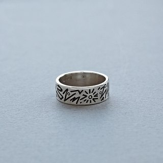 Doodle Silver Ring 002 - size 7JP