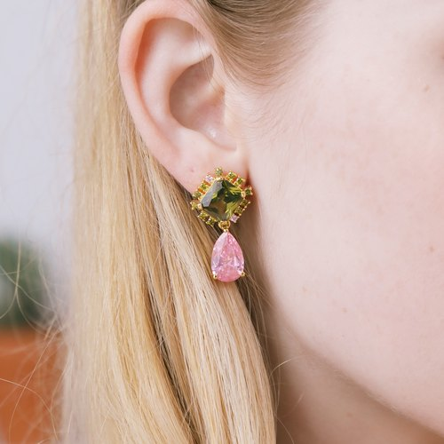 Olive green candy pink crystal earrings