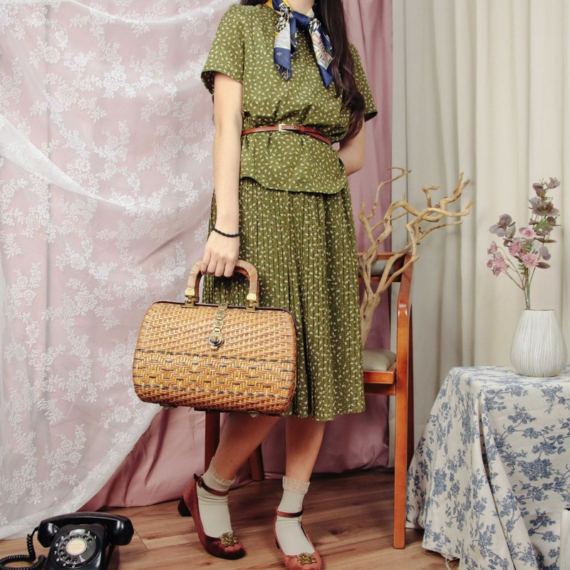 Vintage dress 020 green floral skirt dress short sleeves [Tsubasa.Y 古 着 屋]