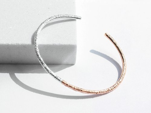 925 Silver Two-Tone Bangle | 18K Rose Gold