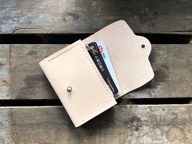 Double-layer zipper card case material package well stitched leather material package couple gift card cover Italy