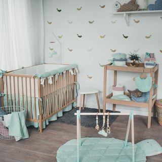 Pastel mint baby bedding set, linnen pillow and duvet cover, rail cover, bumper, bed skirt, bed sheet