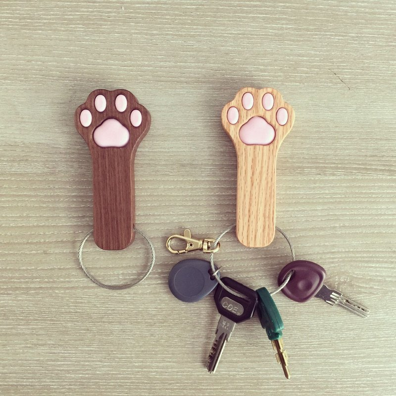 Paw Key chain -Solid wood