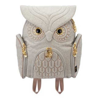 Morn Creations Genuine Classic Owl Backpack M - Light Gray (OW-322)