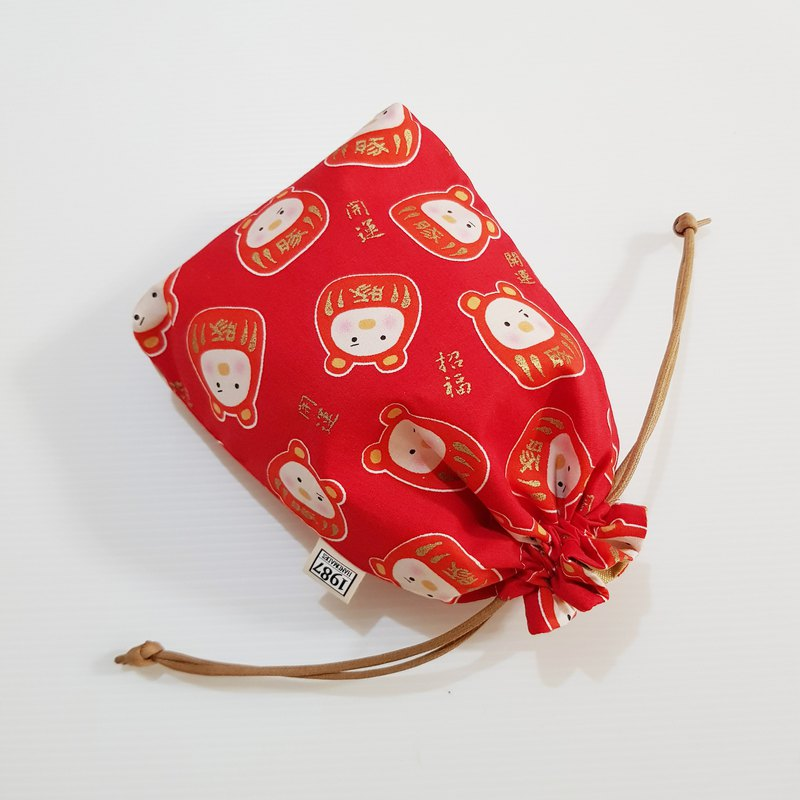 [Fortune Pig-Red] Bundle Pocket Storage Bag Carry Bag Cosmetic Bag Christmas Exchange Gift