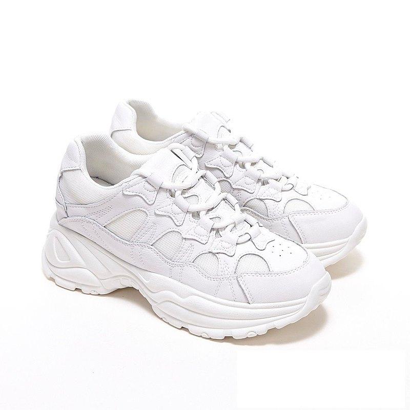 WALKING ZONE cowhide mesh stitching straps in heightened shoes old shoes small white shoes women's shoes-white