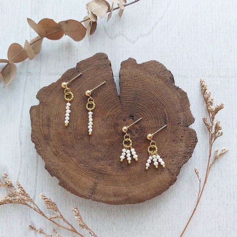 米粒淡水珍珠 純黃銅紐圈 垂墜 復古系列組合 耳環 耳針/耳夾