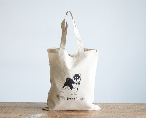 Screen Printed Shiba Inu Natural Linen Grocery Totes