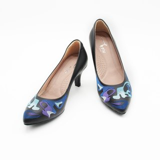 Sparkling Embroidery Pointed Heel (Black)