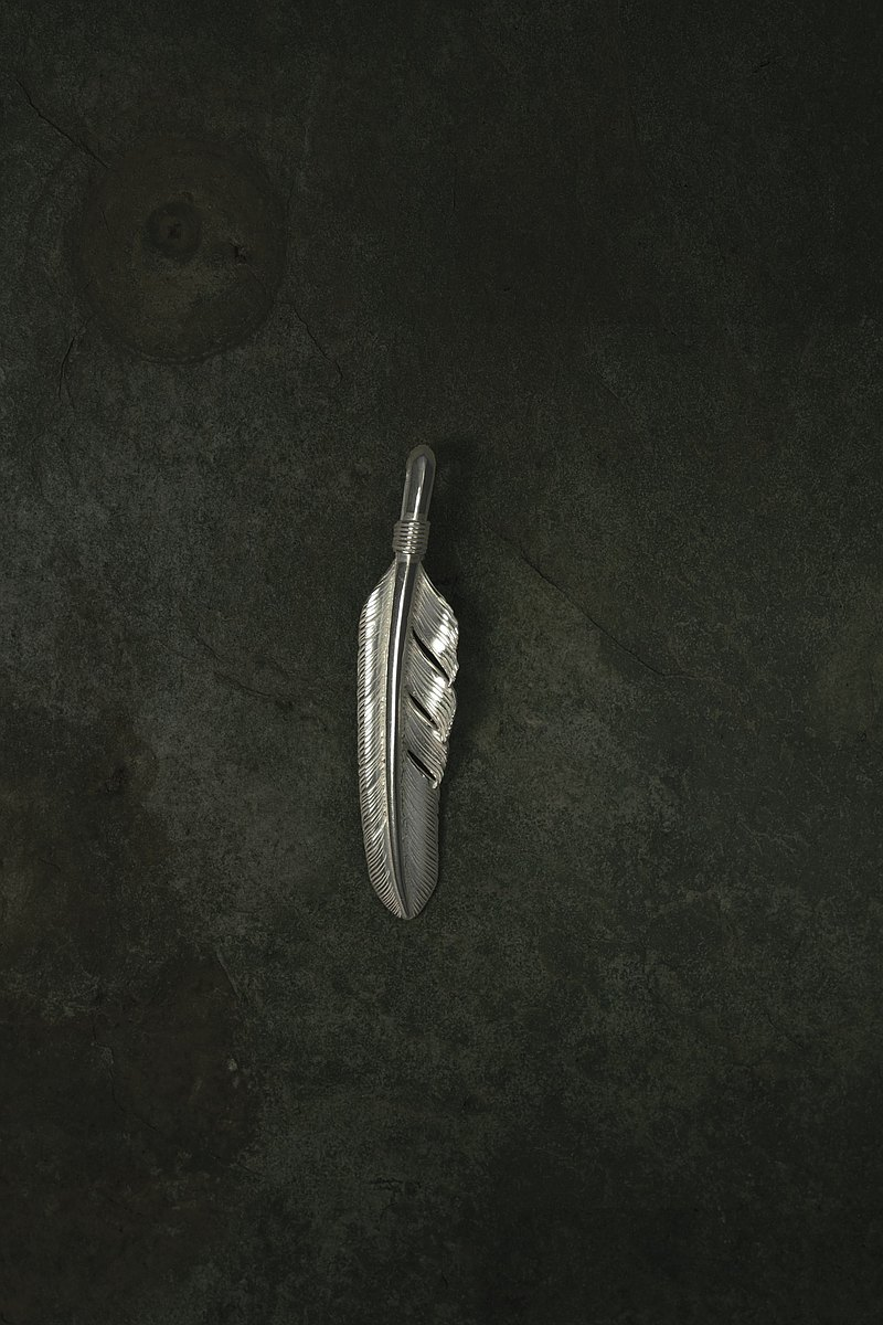 925 sterling silver large feather pendant left