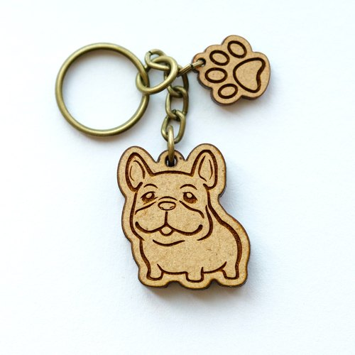 Wooden key ring - Cute French Bulldog