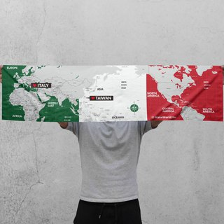 Make World map making sports towel (Italy)