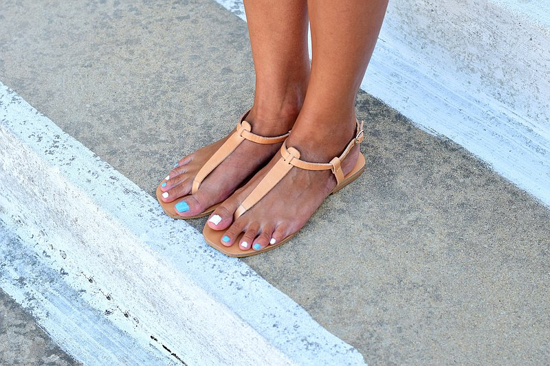 Thong Leather Sandals, Flat Barefoot Ankle Strap Sandals for Women, Greek Sandal