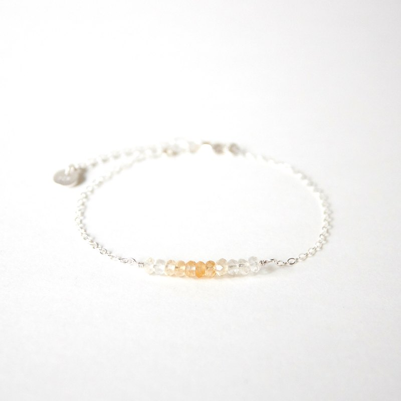 Handmade Simple Citrine beads with 925 silver Bracelet, Birth stone for November