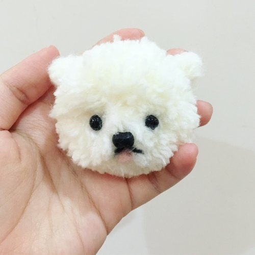 Christmas Gifts / Exchange Gifts Fluff Animal Wool Ball White Pomeranian Brooch