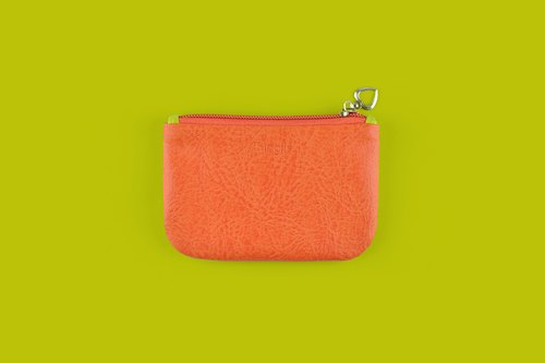 Color Block Coin Purse, Chic Coin Pouch, Card Holder, Card Case, Mustard Green and Orange