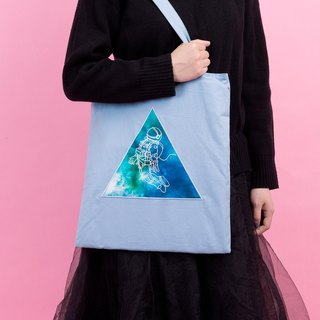 KIITOS I WANT TO universe theme cotton original embroidery print shoulder bag - astronaut models