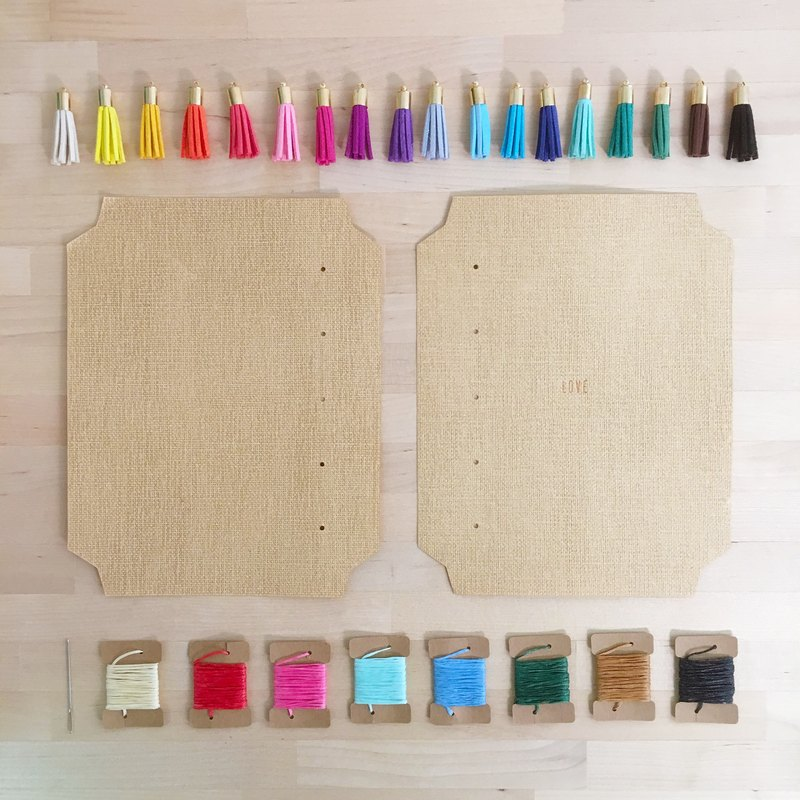 Special Textured Sand Paper + Suede Tassel Bookmark Craftbook Maker (DIY Notebook / Bookbinding Kit) - Love