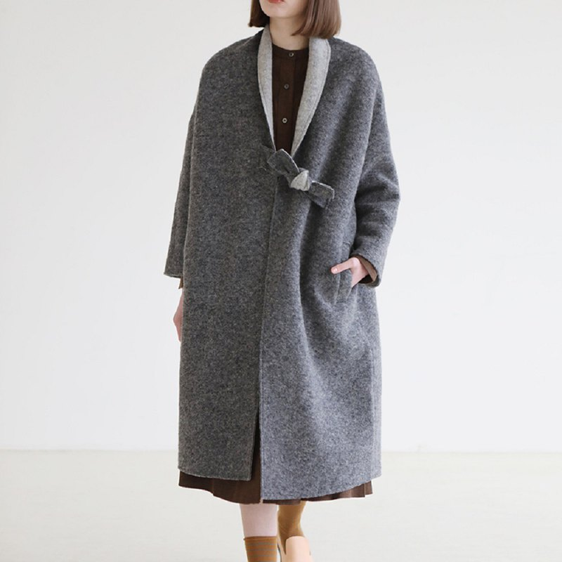 KOOW Yonina Italian special craft wool double-faced coat chic tie and wind robes