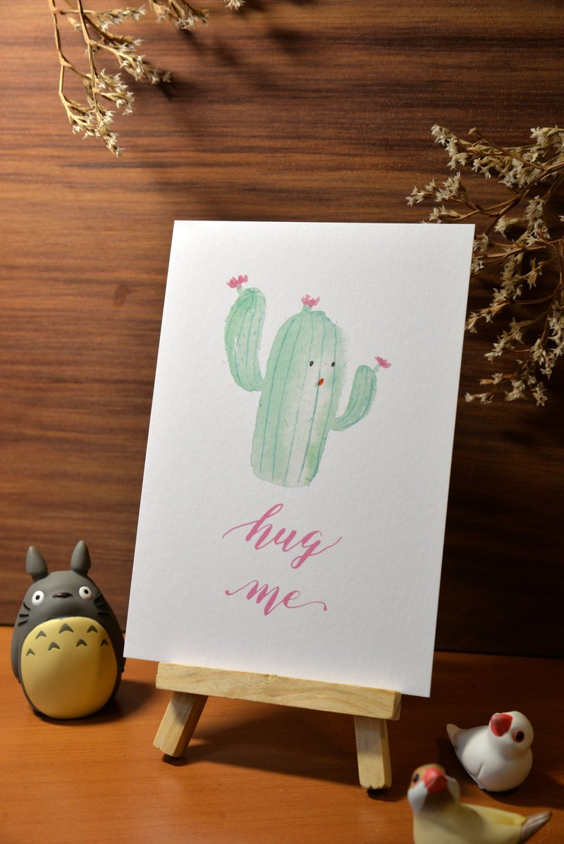 Hand-painted watercolor postcards - hugging cactus