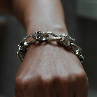 Bracelets Bangle skull Biker Silver Heavy Men Punk Rock Gothic CHAIN motorcycle