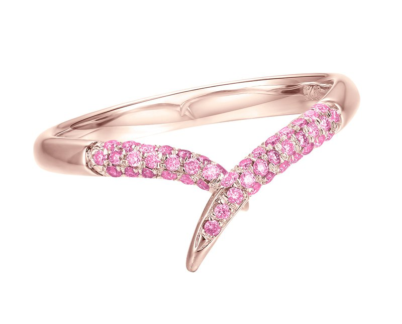 Pink sapphire ring. 14k rose gold engagement ring. Pink sapphire wedding band