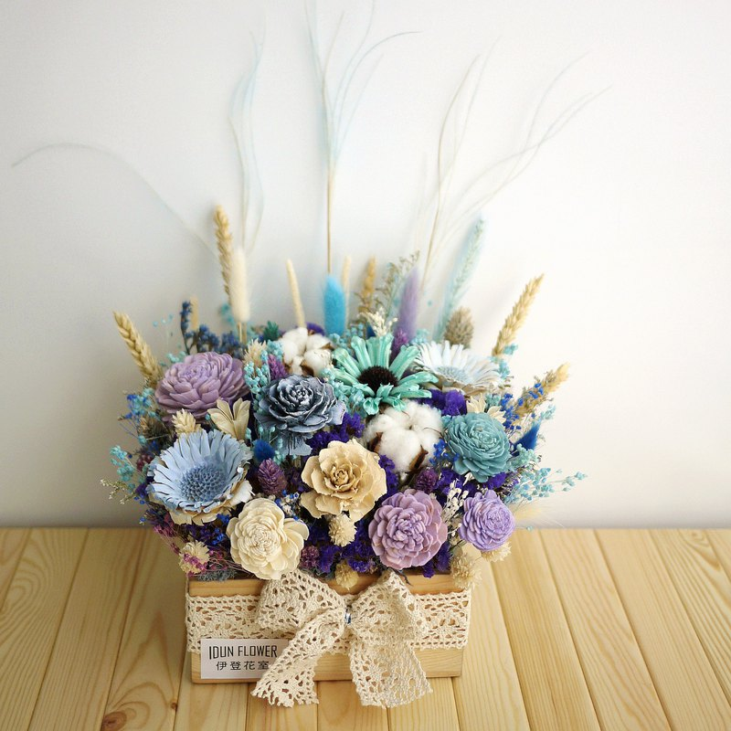 Chongqing Forest - Blue Purple Dry Flower and Wooden Gift Box Opening / Exhibition