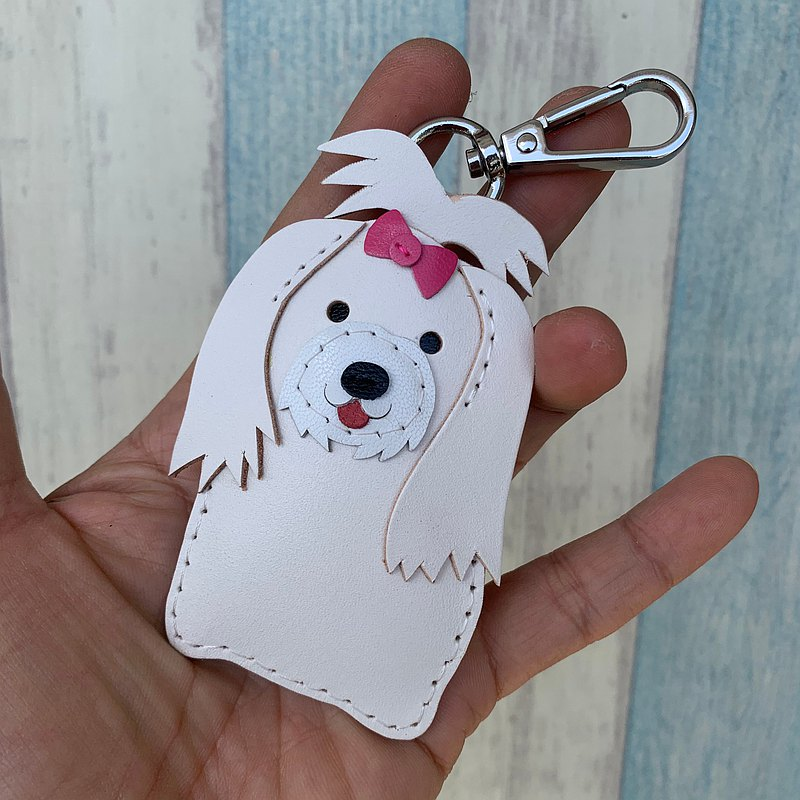 Healing small things white long hair Maltese hand-stitched leather keychain small size