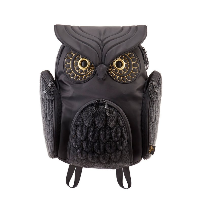 Morn Creations Genuine Classic Owl Backpack L-Black Fur (OW-3511-BK)