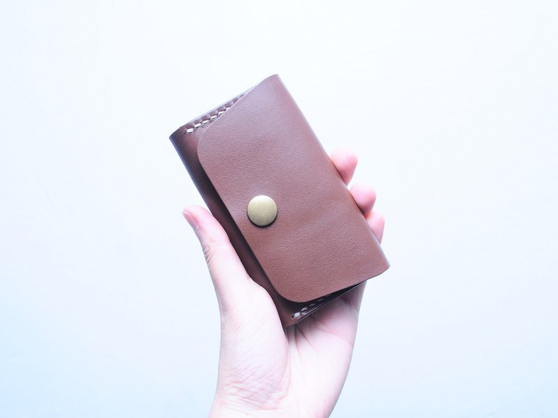 【Large Capacity Card Case - Dark Brown | RUSSEL】 Suture Leather Bag Free Pressing Handmade Card Holder Card Holder Card Holder Card Holder Simple and Practical Italian Leather Vegetable Leather Leather DIY Card Pack Card Holder