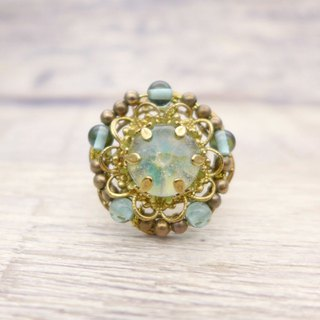 Bouquet of brass and glass, gorgeous ring, Pale blue
