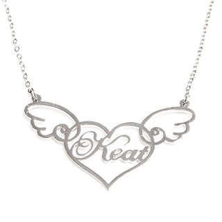 Custom name necklace in heart shape with cute wing