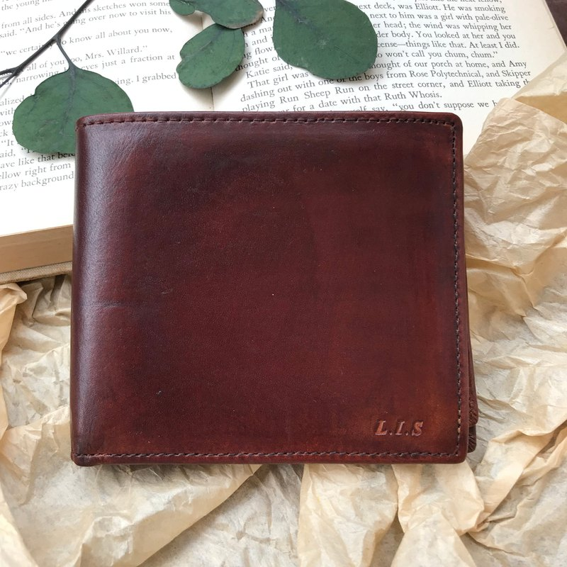 Mocha coffee short clip leather short clip wallet