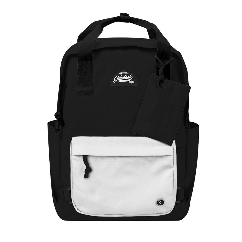 Grinstant Mashable 15.6-inch Rear Backpack-Black and White Series (Black with White)