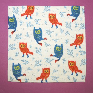 Towel Square Series Red and Blue Owl