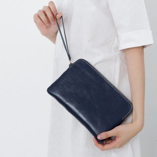 'TRIPLET GIANT' HANDMADE LEATHER CLUTCH BAG-NAVY/DARK BLUE