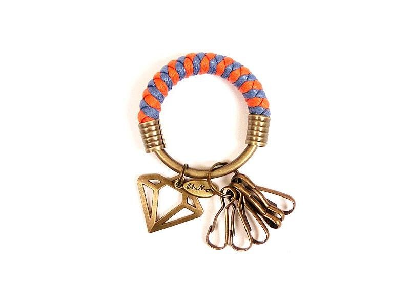 Key ring (small) 5.3CM orange + blue purple + hollow diamond hand-woven wax rope customized